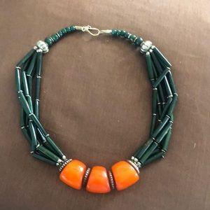 Vintage Bakelite Bedouin orange beads and green🦋